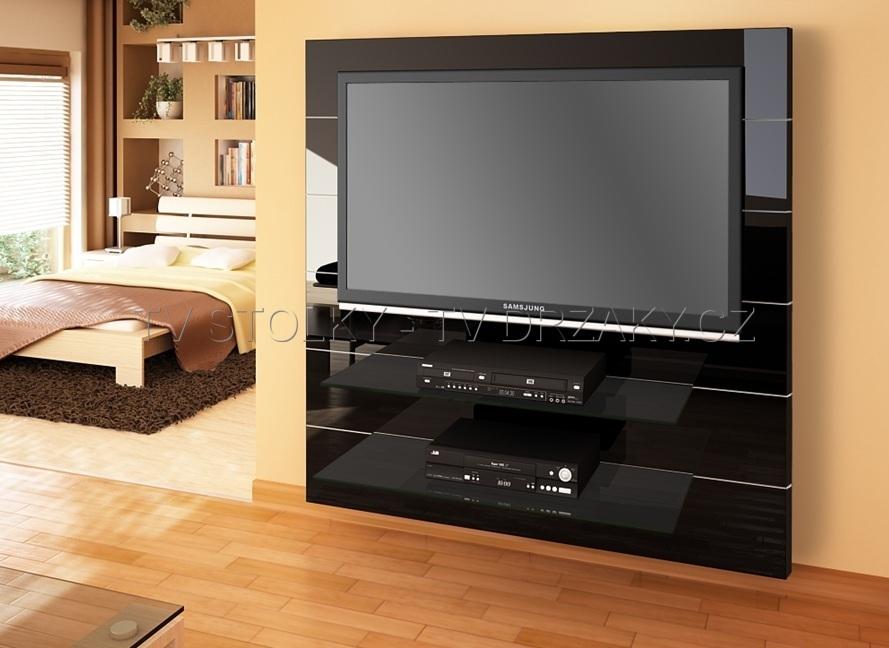 Televizní stěna Panorama 2 - (černá vysoký lesk)