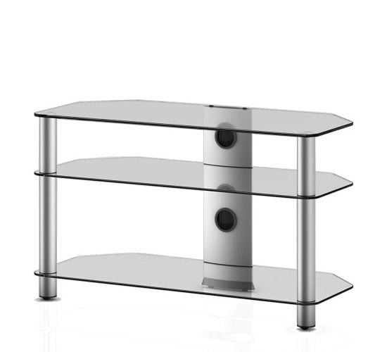 TV stolek NEO 390 (čiré sklo-stříbrné nohy)