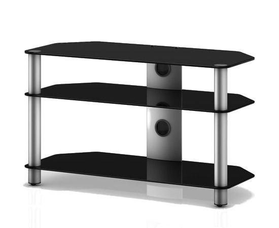 TV stolek NEO 390 (černé sklo-stříbrné nohy)