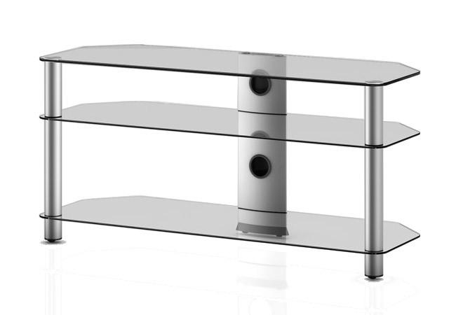 TV stolek NEO 3110 (čiré sklo-stříbrné nohy)