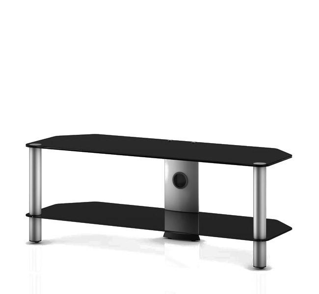 TV stolek NEO 2110 (černé sklo-stříbrné nohy)