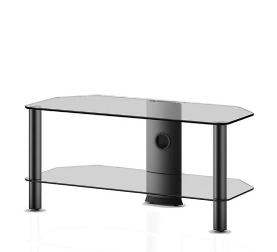 TV stolek NEO 290 (čiré sklo-černé nohy)