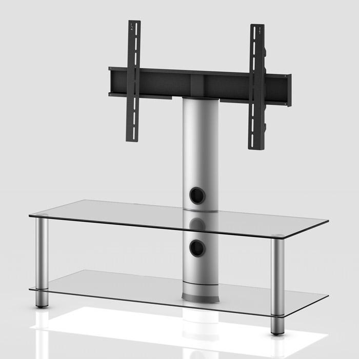 TV stolek NEO 110 (čiré sklo-stříbrné nohy)