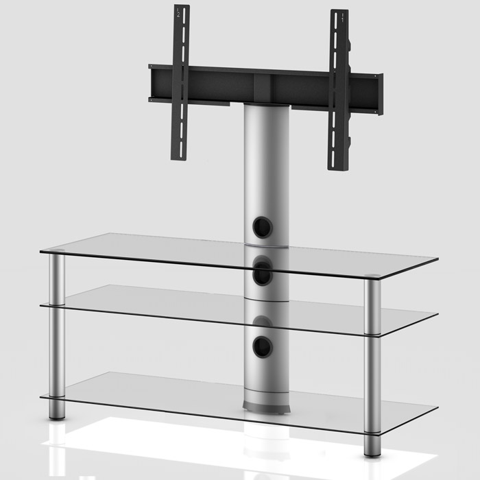 TV stolek NEO 1103 (čiré sklo-stříbrné nohy)