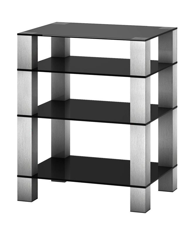 Hifi stolek RX 5040 (černé sklo / nohy nerez)