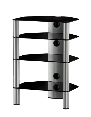 Hifi stolek RX 2140 (černé sklo / stříbrné nohy)