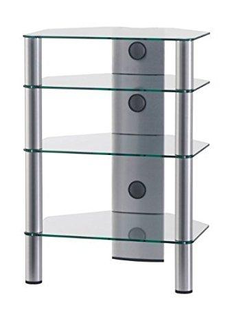 Hifi stolek RX 2140 (čiré sklo / stříbrné nohy)