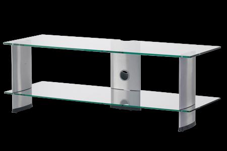 TV stolek SONOROUS PL 3110 (čiré sklo + stříbrné nohy)