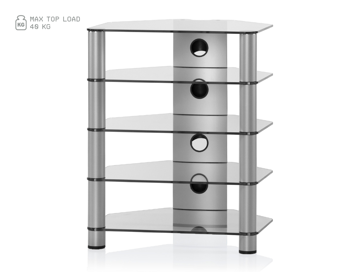Hifi stolek RX 2150 (čiré sklo / stříbrné nohy)
