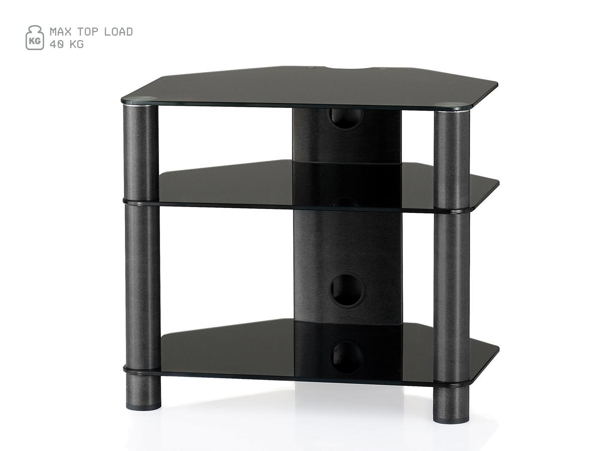 Hifi stolek RX 2130 (černé sklo / černé nohy)