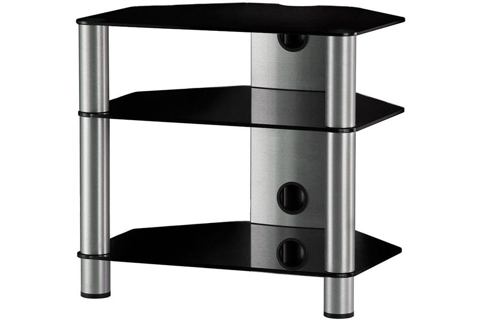 Hifi stolek RX 2130 (černé sklo / stříbrné nohy)