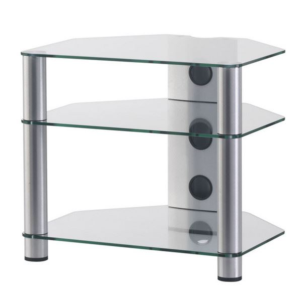 Hifi stolek RX 2130 (čiré sklo / stříbrné nohy)