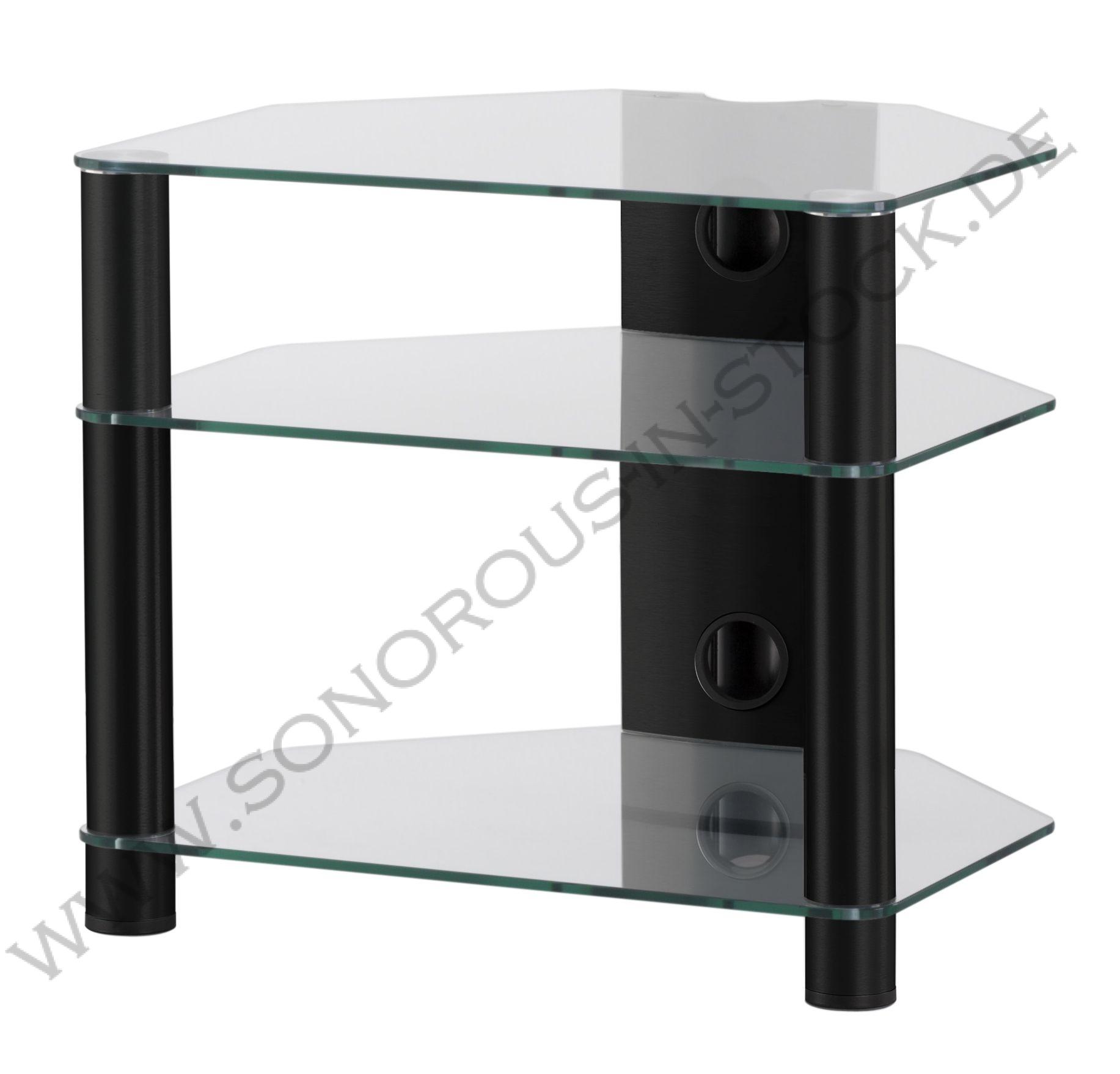 Hifi stolek RX 2130 (čiré sklo / černé nohy)