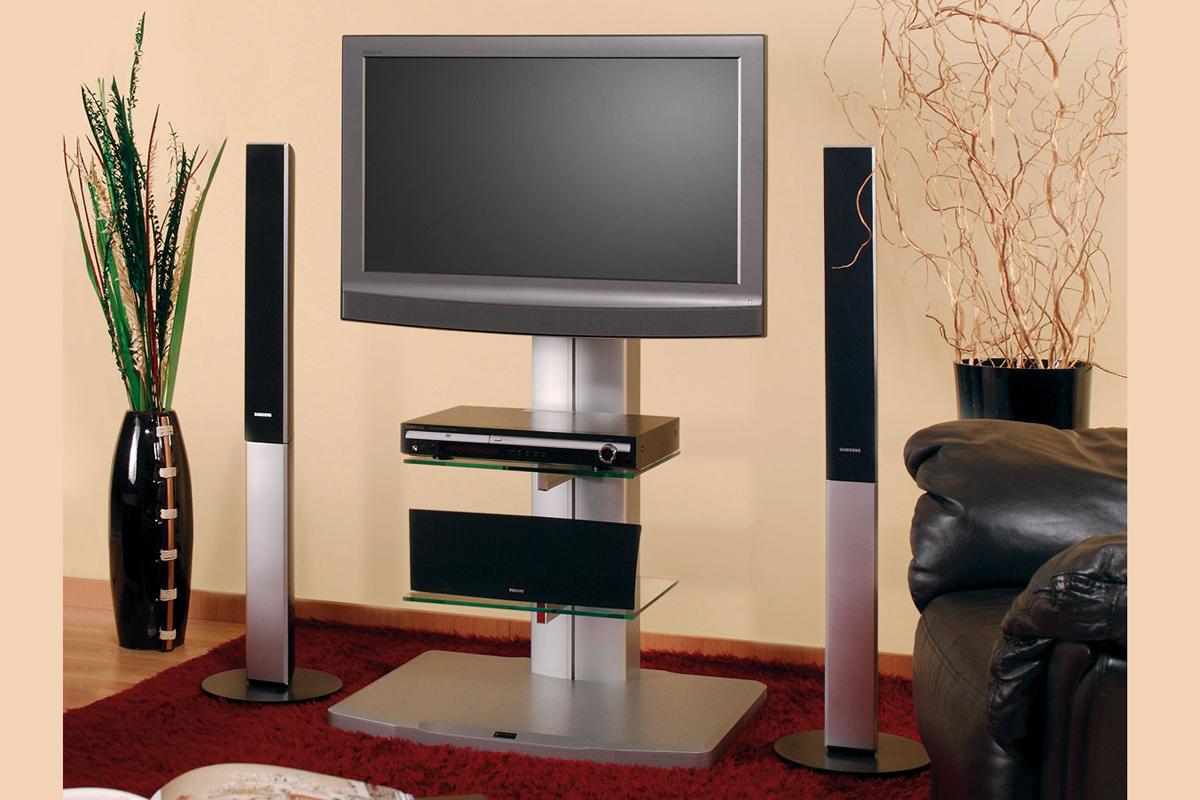 TV stojan ADYN (stříbrný-čiré sklo)